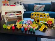 Vintage Fisher Price Little People School And Bus Set