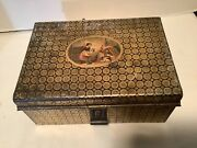 Antique Metal Cash Box With Money Tray And Original Picture