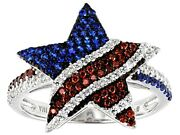 Blue Sapphire, Vivid Red Rubies And Bright White Cubic Zirconia Star Flag Rings