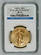 2006 W 20th Anniversary Gold 50 Burnished Eagle Ngc Ms70