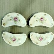 A Set Of 8 Vintage China Bone Dishes Hand Painted By Old Lefton. Floral Pattern.