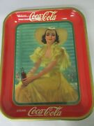 Authentic Coke Coca Cola 1938 Advertising Serving Tin Tray Near Mint 259-