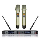 Professional Wireless Microphone Uhf Rack For Shure Cordless Mic Handheld Golden