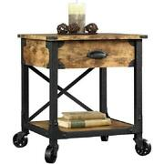 Rustic Wooden Farmhouse End Table Drawer Wheels Metal Legs Weathered Pine Finish