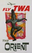 Fly Twa The Orient Ci 1960 Vintage Poster