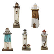 Nautical Lighthouse Tabletop Decorations Led Lighthouse Figurine Hand Painted