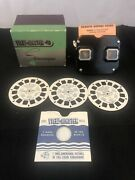 Sawyers Bakelight Viewmaster Stereoscope With Box And X3 Disney Reels- Vintage