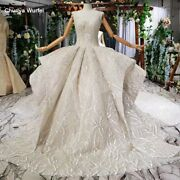 Htl692 Ball Gown Wedding Dress Cathedral Train Lace Up Appliques Pleat
