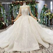 Htl165g Ball Gown Wedding Dress With Train O Neck Long Sleeves Lace Bride Dress