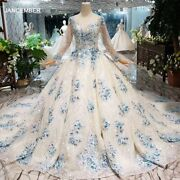 Ls20432g Muslim Ball Gown Wedding Dress With Blue Flowers O-neck Lace Up Back