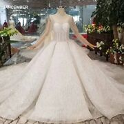 Htl137 Western Style Wedding Dress With Long Train Tulle Long Sleeve Ball Gown