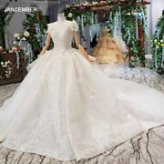Htl521 Princess Wedding Dresses With Train O-neck Flowers Cap Sleeves Lace Up