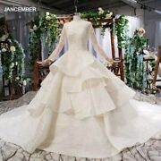 Htl797 Ball Gown Wedding Dress Long Sleeve O Neck Lace Up Back Floor Length