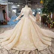 Ls11246 Luxury Lace Wedding Dress High Neck Long Sleeves Lace Up Open Back