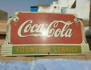 1930and039s Old Vintage Rare Coca Cola Fountain Service Porcelain Enamel Sign Board