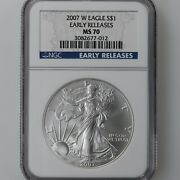 2007-w American Silver Eagle 1 Ngc Certified Ms70 Early Releases Blue Label