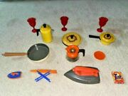 1980's Tin Plastic Toys Frying Pan Pot Nasta Coffee Red Cups Wolverine Iron Play