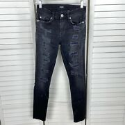 Hudson Nico Midrise Super Skinny Destructed Jeans Hijacked Black Ripped Size 26