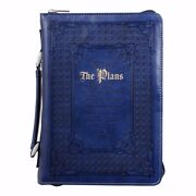 Bible Cover-classic Luxleather-i Know The Plans-medium-blue