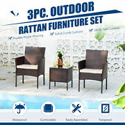 3pc Wicker Patio Furniture Set With 2 Chairs Glass Top Side Table Walnut