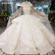 Ls20315 Luxury Swollen Wedding Dresses With Detachable Special Cape Illusion