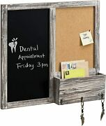 Wall Mounted Rustic Torched Wood Chalkboard And Corkboard Entryway Message Board
