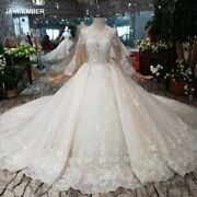 Htl179 Eastern Style Ivory Wedding Dresses Long Tulle Appliques Sleeves Deep