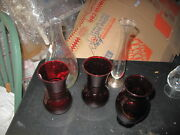 Vintage Lot Of Red Ruby 3 Vases Depression Glass And 1 Iridescent Vase And 1 Clear