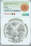 2000 Mexico Silver Libertad 1 Onza Ngc Ms 69 Smooth Luster Gem Bu Better Date