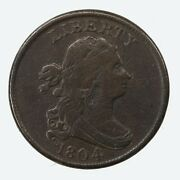 Raw 1804 Draped Bust 1/2c Crosslet 4 Stems Uncertified Us Copper Half Cent Coin