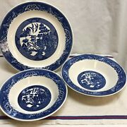 Royal China Blue Willow Ware Chop Plate And 2 Vegetable Dishes--excellent