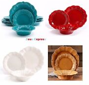 12 - 24 Piece Dinnerware The Pioneer Woman Red Blue Vintage Classic Plates Bowls
