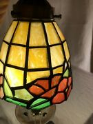 Antique Flush Mount Ceiling Light Stained Glass Shades 3 Bulb Ready To Install