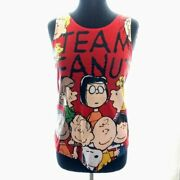 Peanuts Tank Top Shirt Size M Red Charlie Brown Snoopy Linus Patty Womens New
