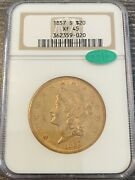 M14130- 1857-s Gold 20 Liberty Double Eagle Ngc Xf45 Cac