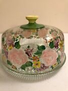 Rare Gorgeous Spring Hand Painted Thornberry's Glass Cake Cover Stand Plate