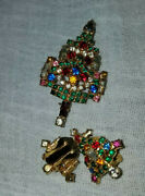 Stunning Vintage Christmas Tree Pin Brooch Matching Clip Earrings