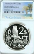 1980 Cayman Islands Silver 2 Dollars Ngc Pf 68 Ultra Cameo Scarce Low Mintage