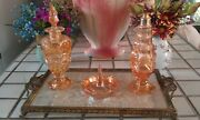 Vintage Dressing Table Set - Tray With Carnival Glass Accessories
