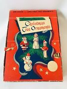 12 Vintage 1960's Tavern Wax Christmas Ornaments In Display Box Gurley