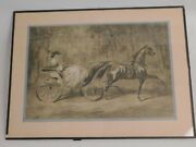 Antique 19th Century Constantin Guys French Ink Wash Painting Horse Carriage