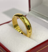 24k Solid Pure 999.9 Gold Handcraft Unisex Band Rings/ Wedding Ring 11.26 Grams