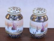 Oriental Salt And Pepper Shakers With Painted Ships