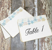 Large Double Or Single Side Soft Snowflakes Winter Wedding Table Card Sign 485