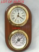 Wooden Marine Nautical Brass Clock Thermometer Weather Station Item
