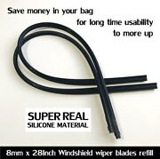 5 Pairs Best Quality Car Windshield Wiper Blade Black Silicone Refills 28x8mm.
