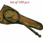 Antique Vintage Brass 8 Magnifying Glass Table Topr With Leather Lot Of 100 Pcs