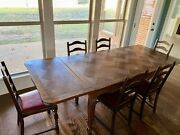 Antique Extendable Oak Dining Table With Chairs - Beautiful Carving Details