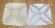 Vintage 1960s-70s Crocheted Doilies Handmade Two New White Square 5x5andrdquo