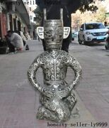 Huge Chinese Bronze Silver Ware Ancient Dynasty Palace Sanxingdui People Statue